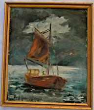 DANISH SCANDINAVIAN SCHOOL OIL CANVAS MID CENTURY SAIL BOAT SHIP SIGNED FRAMED
