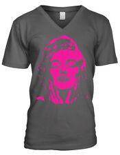 Movie Star Hot Pink Photo Negative Image Hands Face Sexy Of Men's V-Neck T-Shirt