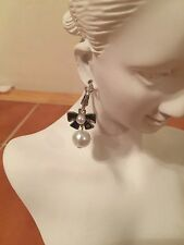 Silver Tone Hanging Pearls Bow Earrings Vintage Style Dangle Drop Jewelry