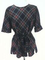 Vtg PENDLETON Tartan Plaid Wool Blouse Top w Belt Black Red Green USA L $189 NEW