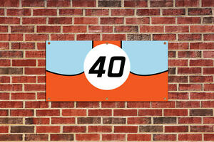Ford GT 40 Gulf Racing GT40  Race Car Tribute Garage Shop Banner