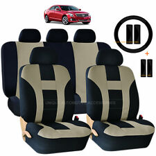 14PC BEIGE & BLACK DOUBLE STITCH SEAT COVERS BENCH SET for CARS 1024