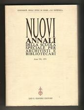 NUOVI ANNALI DELLA SCUOLA SPECIALE PER ARCHIVISTI,BIBLIOTECARI,1993[Archivistica