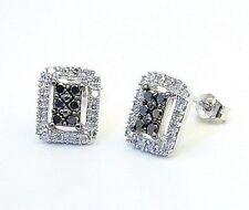 Black & White Diamond Cluster Earrings 10K white Gold .31ct Open Framework