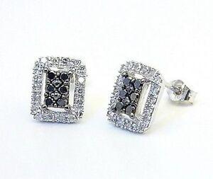 10K White Gold Black & white Diamond Cluster Earrings Rectangular Studs .31ct
