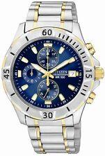 Mens Citizen Quartz Blue Dial Chronograph Two Tone Watch With Date AN3394-59L
