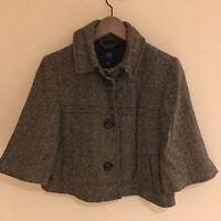 GAP Ladies Cropped Black White Herringbone Boxy Wool Mix Collared Jacket UK12
