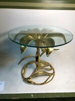 Vintage Mid Century Gilded Gold Metal Glass Flower Artist Numbered Table Rare