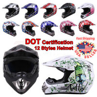 DOT Adult Kids Child Youth Motocross ATV Dirt Bike Snowmobile Off Road Helmet US