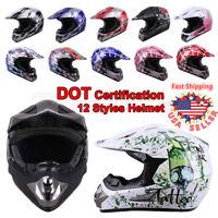 DOT Adult Kids Child Youth Motocross ATV Dirt Bike Snowmobile Off Road Helmet US