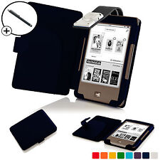 Forefront Cases Navy Blue Leather Smart Case Cover with Light Tolino Page Stylus