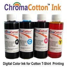 4 COLOR BOTTLES ChromaCotton INK REFILL INKJET PRINTER FOR T-SHIRT COTTON 240ml