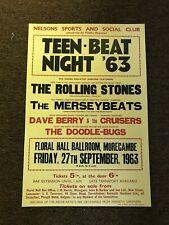 """Rolling Stones Teen Beat Night 1963 Cardstock Concert Poster 12"""" x 18"""""""