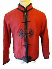 Tibetan ETERNAL Knot medium Buddhist vegan suede jacket RED Chinese Nehru celtic