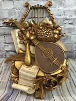 Vintage Syroco 1971 Musical Instrument Wall Sculpture Decor Mandolin Lyre 7236