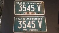 Vintage 1973 Ohio License Plate Pair Green and White 3545V