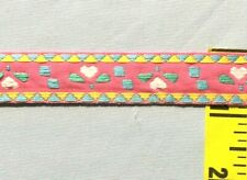 """Jacquard Ribbon Trim 5/8"""" Embroidered Heart Ribbon Pink Blue Yellow 5 yds #Rb26"""