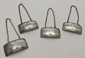 Sterling silver set of 4 Stieff Williamsburg liquor decanter labels