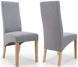BAXTER SILVER GREY DINING CHAIRS x 2 (a pair)