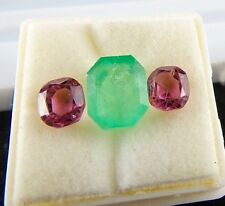 3 PCS OLD MINES SPINEL COLOMBIAN EMERALD CUSHION CUT GEMSTONES FOR DESIGNING