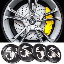 4x65mm Wheel Center Stickers For FIAT Abarth Black White Scorpion Hub Stickers