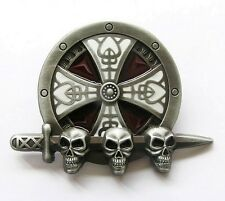 Boucle Ceinture Tête de mort Skull Celtic biker moto custom belt buckle leather