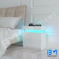 Modern LED Light Bedside Table Gloss 2 Drawer Side Nightstand Bedroom Cabinet WH