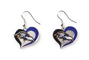 Baltimore Ravens NFL Silver Swirl Heart Dangle Earrings Hypo-Allerginic