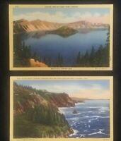 Lot Of 2 Vintage Oregon Linen Postcards Crater Lake And Otter Crest