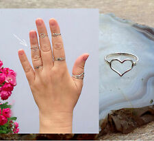 Heart ring 925 Sterling Silver, Midi Ring Above Knuckle Ring. Adjustable