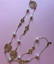 """Israel Lirm 925 Silver Over Yellow Gold Pearl Necklace, Length 30"""""""
