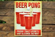 Beer Pong Tin Metal Sign - Party - Red Solo Cup - PROOF Sports Alcohol Do Mix