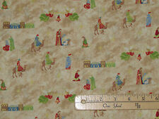 Silent Night Nativity Cream Religious Christmas Fabric by the 1/2 Yard #12221