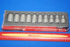 """$99 AUCTION NEW Snap-On 10 Piece 1/2"""" Drive 12-Point Metric Shallow Socket Set"""