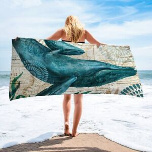 Whale Turtle Towel Beach Towel Quick Dry Microfiber Bath Towels Sand Free 60x30
