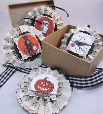 Halloween Handmade Ornaments Set of Four Original Art Vintage Paper Rosettes