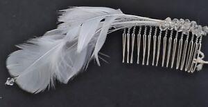 Lovely Swarovski crystal bridal wedding handmade comb 6cm with white feathers
