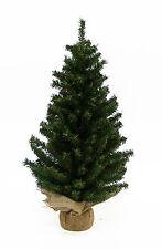 "KURT ADLER 24"" MINIATURE PINE CHRISTMAS TREE w/ROUND PINE BASE COVERED IN BURLAP"
