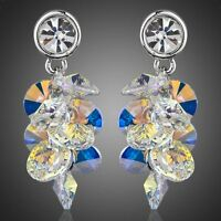 New Made With Sparkly Shiny Multi Colored Swarovski Crystal Drop Dangle Earrings