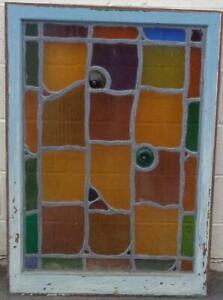 Antique Stained Glass Window - UNIQUE ORIGINAL DESIGN - VGC - BEAUTIFUL COLORS