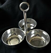 Pottery Barn Barona Triple Condiment Bowls Handle Serving Tray Silver Aluminum