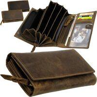 L&B Damen Geldbörse Leder, 6 Geldscheinfächer Portemonnaie Geldtasche Geldbeutel