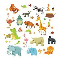 Jungle Animals Wall Stickers Safari Wall Decals For Baby Kids Room Home Decor