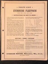1952 Evinrude Fleetwin 4443 4444 4447 4448 Outboard Motor Parts Catalog Manual