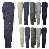 Men Elastic Waist Cargo Pants Combat Camo Military Army Hiking Trousers Bottoms