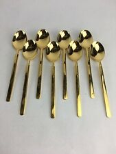 Vintage Supreme Vermai 23K Gold-Plated Stainless Cutlery 8 Teaspoons
