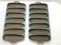 "Vintage Cast Iron Cornbread Stick Mold 7-slots 12.5"" Marked C [LOT of 2]"
