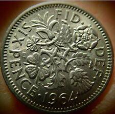 """1964 UK  Great Britain *Wedding Sixpence """"Something Old Something New"""""""