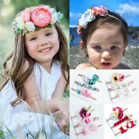 3Pcs Kids Baby Girls Toddler Flower Headband Headwear Hair Bow Band Accessories
