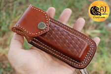 """HAND MADE PURE COW LEATHER SHEATH FOR 5"""" FOLDING KNIFE"""